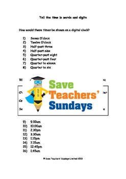 Digital time worksheets (3 levels of difficulty)