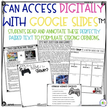Digital vs. Board Games Paired Texts: Writing On-Demand Opinion Essays