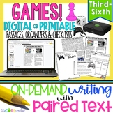 Video vs. Board Games Paired Texts: Writing On-Demand Opinion Essay Editable