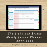 Digital weekly lesson planner 2019-2020 for teachers. Light and Bright.