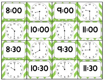 Digital/Analog Clock Matching Game