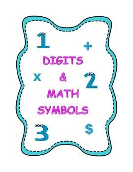 Digits & Math Symbols Flashcards for Elementary Grades