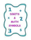 Digits & Math Symbols Flashcards for Elementary Grades