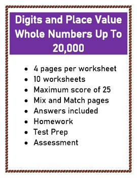 Digits and Place Value / Numbers Up To 20,000