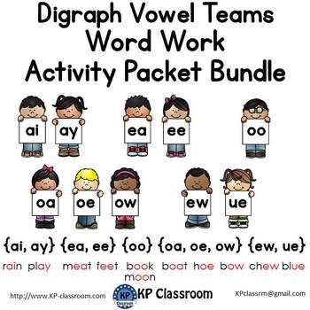 Digraph AI/AY EA/EE OO OA/OE/OW EW/UE Vowel Teams Activity Packet Bundle