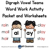 Digraph AI AY Vowel Teams Activity Packet and Worksheets