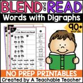 Digraphs Worksheets   Blending & Reading Words with Digraphs