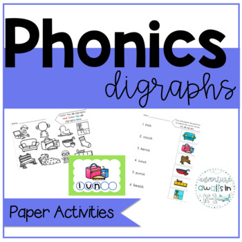 Digraph Activities for First Grade and Kinder:  wh, th, ph, ch, sh, ck