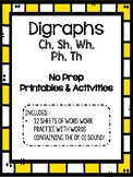Digraph (sh, ch, wh, ph, th) Activity Pack (12 Sheets!)