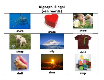 Digraph Matching Game! (SH words)