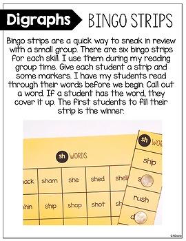 Digraph Bingo Strips