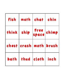 Digraph Bingo (th, ch, sh)