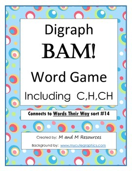 Digraph C, H, Ch BAM! Word Game - Words Their Way sort #14