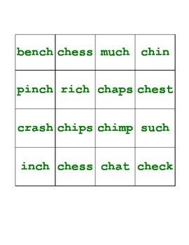 Digraph 'CH' Bingo