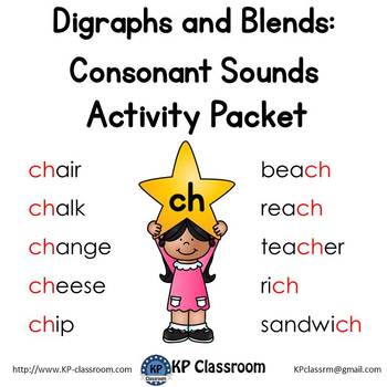 Digraph CH Consonant Sound Activity Packet and Worksheets