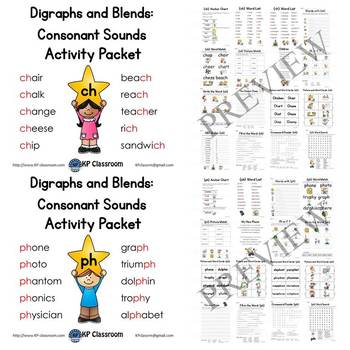 Digraph CH, PH, SH, TH, WH Consonant Sound Activity Packet and Worksheets Bundle
