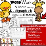 Phonics K & digraph CK, Rhyming, Write the Room: Word Work