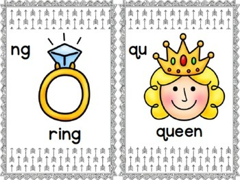 Digraph Cards (Silver Glitter Arrows)