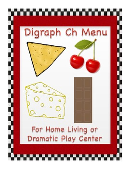 Digraph Ch Menu - Great for Home Living or Dramatic Play Center