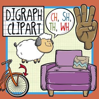 Digraph Clip Art - CH, SH, TH, WH