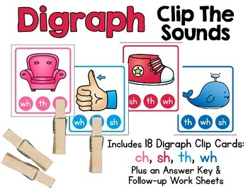 Digraph Clip Cards - Clip The Sounds.  Includes Digraphs c