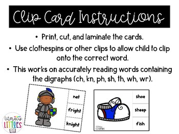 Digraph Clip Cards (ch, kn, ph, sh, th, wh, wr)