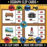 Digraph Clip Cards: ch, sh, ck, th, dge, ng, tch, wh, ph