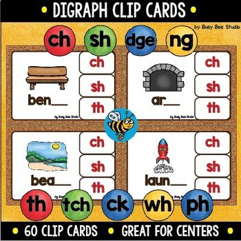 Digraph Clip Cards: ch, sh, ck, th, dge, ng, tch, wh, ph