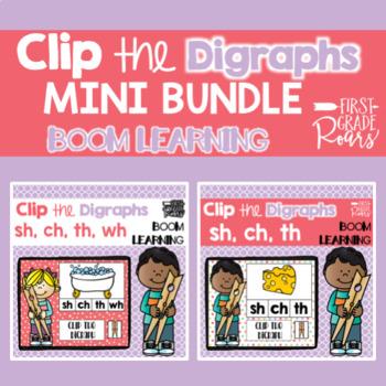 Digraph Clip Game Mini BUNDLE DIGITAL Task BOOM CARDS
