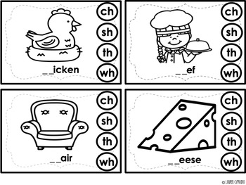 Digraph Clip It Cards (Ch, Sh, Th, Wh)