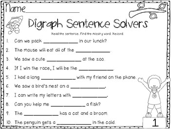 Digraph Cloze: Hands-On Sentence Building Puzzles