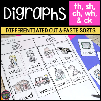 photo about Printable Word Sorts named Digraphs Worksheets Slash and Paste Term Forms (ch, sh, th, and wh)