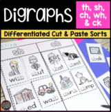 Digraphs Worksheets Cut and Paste Word Sorts (ch, sh, th, and wh)