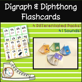 Digraph & Diphthong Flashcards - 4 Differentiated Packs! 40 Sounds!