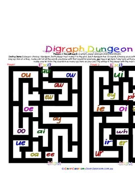 Digraph Dungeon Literacy Game - 1 page-  Literacy Game