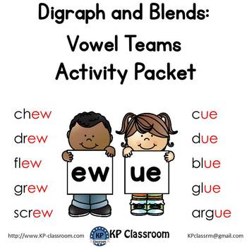 Digraph EW UE Vowel Teams Activity Packet and Worksheets