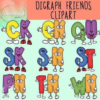 Digraph Friends Clipart Set - Color and Line Art 18 pc set