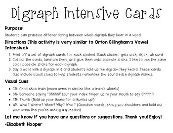 Digraph Intensive Cards