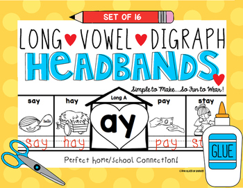 Digraph Long Vowel Headbands First Grade and Kindergarten ELA