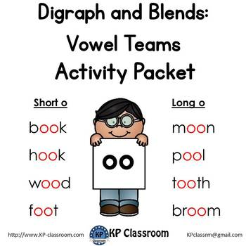Digraph Long and Short OO Vowel Teams Activity Packet and Worksheets