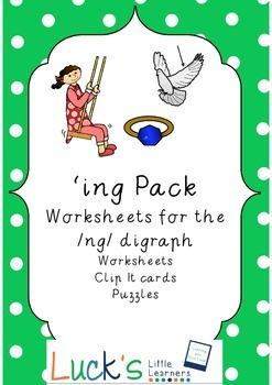 Digraph NG as ING word Pack Victorian Modern Cursive