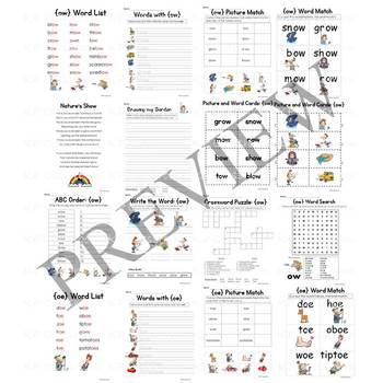 Digraph OA OW OE Vowel Teams Activity Packet and Worksheets