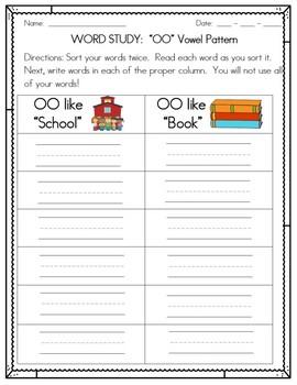 Vowel Digraph OO: Activities, Games, Worksheets