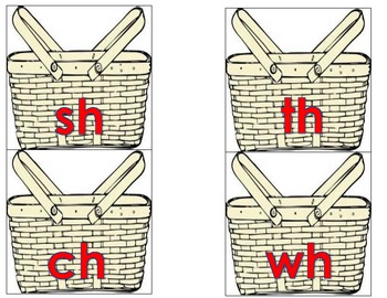 Digraph Picnic Basket Sort and Matching Activity for Literacy Centers