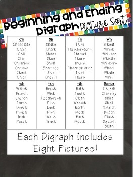 Digraph Picture Sort Cards for Guided Reading