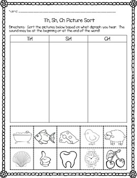 Digraph Picture Sort - TH, SH, CH