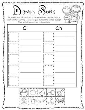 Digraph Picture Sorts & Writing Sorts