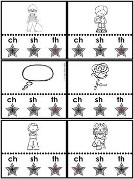 Digraph (ch sh th) Self Checking Poke Cards