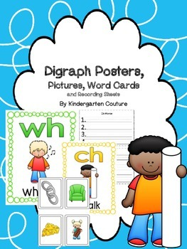 Digraph Posters, Pictures, Word Card, and Recording Sheets