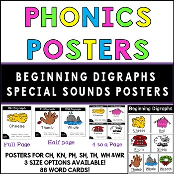 Digraph Posters - Special Sounds Ch, Kn, Ph, Sh, Th, Wh and Wr